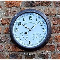 Al aire libre jardín pared reloj termómetro medidor de humedad 38cm, color óxido