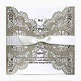 HOSMSUA 20x Hochzeits Einladungskarten mit Love Bird Floral Spitze Bridal Dusche Verlobung Geburtstag Gold Hochzeitseinladung (Set von 20 Stück)
