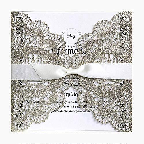 HOSMSUA 20x Hochzeits Einladungskarten mit Love Bird Floral Spitze Bridal Dusche Verlobung Geburtstag Gold Hochzeitseinladung (Set von 20 Stück) (Dusche Elegante Bridal Einladungen)