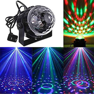 KINGSO 5W RGB Sound Actived Crystal Magic Mini Rotating Ball Effect Led Stage Lights For KTV Xmas Party Wedding Show Club Pub Disco DJ - cheap UK light store.