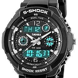 QBD Jungen Mädchen digital-analog Digitale Sport-Armbanduhr mit Alarm Stoppuhr Chronograph-50m Wasser Proof-(SH schwarz)