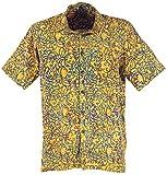 Guru-Boutique, Chemise Hippie, Chemise Hawaii, Chemise Tie Dye, Moutarde/Turquoise, Synthétique, Size:M, Chemises pour Hommes