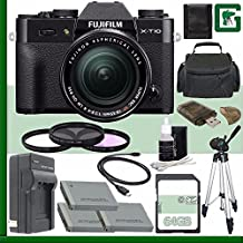 Fujifilm X-T10 Mirrorless Digital Camera With 18-55mm Lens (Black) + 64GB Green's Camera Bundle 4