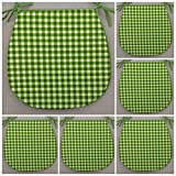 SET OF 6 LIME GREEN GINGHAM CHECK PATTERN CHAIR SEAT PADS (Approx. 14