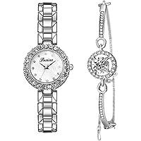 Clastyle Elegant Watch and Bracelet Set for Women Rhinestone Ladies Watches and Fashion Bangle
