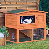 Treated Pinewood Small Animal Hutch with Enclosure - with A Pitched Roof, Integrated Ground Run, Built-in Ramp and A Den -Giving your Pet Somewhere Quiet to Retreat to