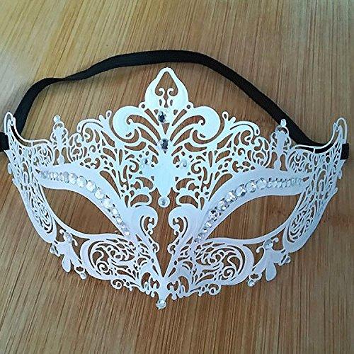 Frau Maskerade Maske Halloween Weihnachten griechische Party Maske Karneval Maske Maske aus Metall, weiß, (Frau Maske Zombie Ziemlich)