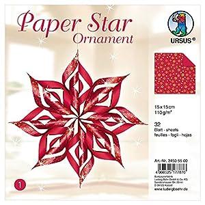 Ursus 34505500-Paper Star Ornament 1, para 4Estrellas en el tamaño Aprox. 40x 40cm, Color Rojo