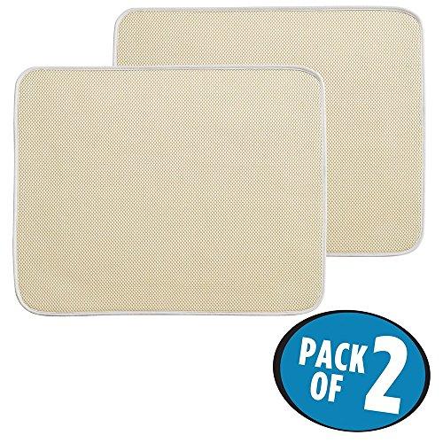 mDesign tapis égouttoir (lot de 2) – pour verres, assiettes, poêles – tapis d'évier – tapis de protection résistant qui sèche vite – en polyester – beige/ivoire