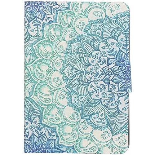 CaseMa-EUPU Leder Tasche Schutzhülle Flip Standfunktion Schutz Hülle Case Etui Fall für Apple iPad mini 1/2/3 (7.9 inch) (Semi-Blaue Blume Bild XX) mit Ein zufällige Farbe Staub-Stecker (Fall Mini Ipad 1)