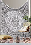 Black and White Tapestry Double Beach Sheet Indian wall Hanging Mandala BedSpread Dorm Decor Tapestries 92x82 Inches Aakriti Gallery (Hamsa)