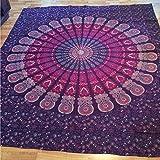 QHGstore Rectángulo Patrón étnico toalla de playa Yoga Mat gasa Mantel Púrpura 150cm*210cm