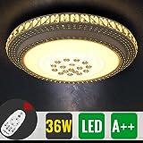 HG® 36W Markantes Design LED Deckenlampe Dimmbar Rund kristall deckenleuchte Wohnzimmer Starlight-Effekt