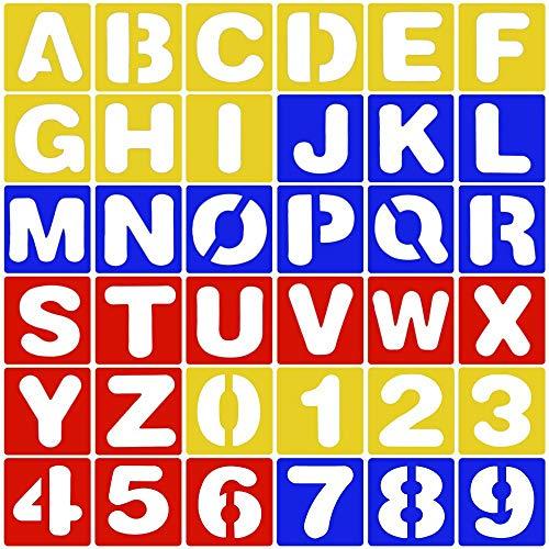 n + Nummer Schriftzug Schablone Kunststoff Alphabet Schablonen Set für DIY Lernen Malerei (Zufällige Farbe) ()