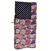 Sleeping Beauties Printed Cotton Sleeping Bag - perfect for camping, glamping & festivals - Vintage Patchwork (Purple)