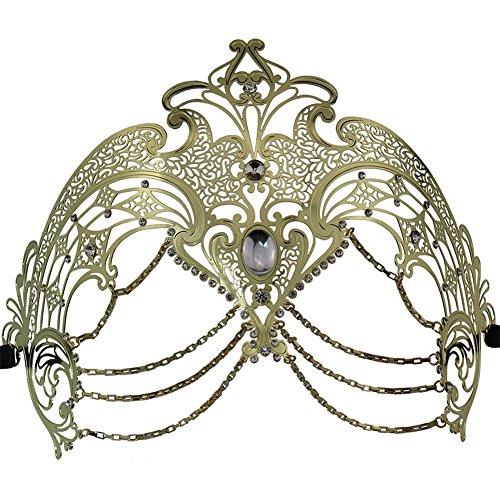 QincLing Damen Kette Venezianische Metallmaske Laser Cut Prom Opera Masquerade (Scream Maske Gesicht)