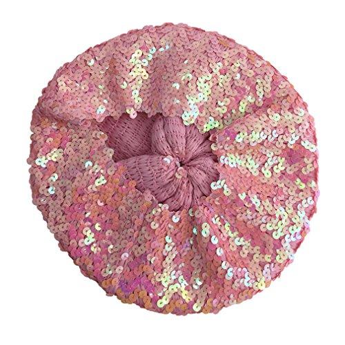 Béret Femme Fille Paillette Chapeau Bonnet Carnaval Elégant Rose