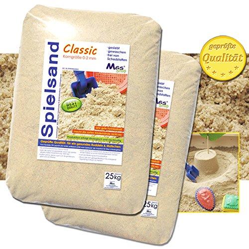 50kg Spielsand Quarzsand TÜV geprüft TOP Qualität 0 - 2 mm Sandkasten (Sandkasten Sand)