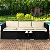 Poly Rattan Garden Sofa Black Cream Cushion Conservatory Furniture Sun Multi- Reclining Function Outdoor Lounger - Including Coffee Table