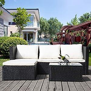 Merax Outdoor-Möbel Rattan Wicker Terrasse Set Anti-Splash Bistro Stühle Gespräch Set mit Abnehmbare Kissen & Gehärtetem Glas Tischplatte für Garten, Veranda, Pool oder Balkon (4+1 stück, schwarz)