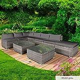 BRAST Poly-Rattan Gartenmöbel Lounge Set 14 Modelle 3 Farben 4-12 Personen Sitzgruppe Relax Grau