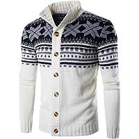 Uomo Maglia Maglione Cardigan Natale Fiocco di Neve Colori Misti Giacca di Maglione Caldo ed Elegante Cappotto con…