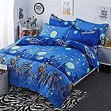 simonshop 4Fahrrad Sterne Muster Betten-Bettlaken-Set angenehm weiches Bettbezug Kopfkissen Twin Full Queen King Größe für Kinder und Erwachsene, Seide, twin 2