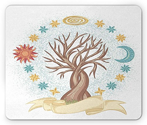 Sun and Moon Mouse Pad, Tree of Life Hand Drawn Artwork Surrounded by Stars Cosmic Spiritual Symbol, Standard Size Rectangle Non-Slip Rubber Mousepad, Multicolor