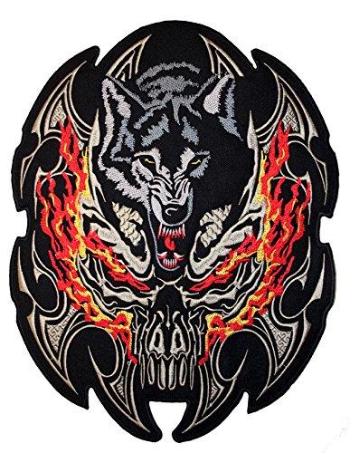 V-Twin - Toppa /Stemma con Motivo: 'lupo aggressivo' per giubbotto, giacca, gilet da motociclista
