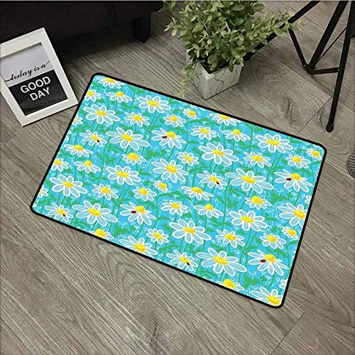 Beihai1Sun Gummi-Fußmatte, gelbe und Blaue Wiese, Kunst-Muster mit Marienkäfer und Kamille, Gänseblümchen, rustikale Dekoration, 40,6 x 61 cm, Aqua-Weiß