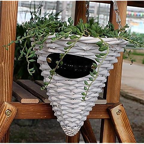 Haha Liu in rattan intrecciato a mano cestini di hanging-wall Cestino VASO Da Fiori