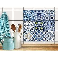 Stickers murali per piastrelle bagno | Piastrelle Mosaico Adesivo decorativo - auto-adesivi per piastrelle cucina (Ceramica Talavera)