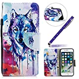Funda iPhone 8,Carcasa iPhone 7 Azul,Moda Pintado Patrón Flip Wallet PU Leather Suave...