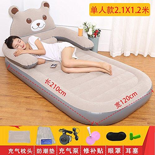 NVZJNDS Aufblasbare Matratze Cartoon Tatami Bär Luftmatratze Blätter Menschen Recliner Schlafzimmer Home Double Faul Sofa, Single grey 2.1X1.2 meter