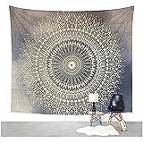 Dremisland Tapisserie murale Tenture mandala indien bohème hippie couvre-lit rideau couvertures Plage Tapis Tapestry (L/200*150cm, FLEUR GRIS)