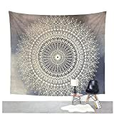 "Dremisland Tapisserie wandteppich indisch Mandala hippie Bohemien Orientalisch wandtuch wandbehang Tapestry(M/59""x52"", GRAUE BLUME)"