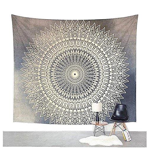 Mandala de la tapicería pared que cuelga de la India Hippie Tapiz bohemio colgante de pared Tapestry decoración del arte Por Dremisland (L/80'x60', GREY FLOWER)