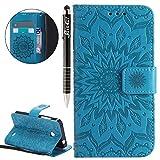 SainCat Ledertasche Brieftasche im BookStyle PU Leder Hülle Wallet Case Folio Schutzhülle Bumper Handytasche Flip Cover Etui Case für Microsoft Lumia 630 Nokia N630 (Blau)