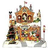 Lemax - Santa's Workshop - Animierte Weihnachstwerkstatt mit Beleuchtung & Sound - 27,50cmx27cmx25cm - 4,5V Adapter - Christmas Village - Weihnachtsdorf