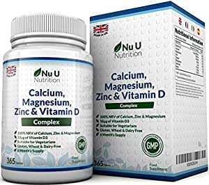 Calcium, Magnesium, Zinc & Vitamin D Supplement – 365 Vegetarian Tablets, 6 Month Supply of The Nu U Nutrition Osteo Supplement