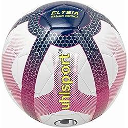 UHLSPORT - Elysia Ballon Replica - Ballon Football - Design Ligue 1 - Cousu Main - Blanc/Bleu Marine/Fuchsia, Taille 5