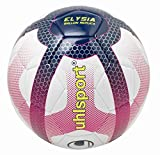 UHLSPORT -Elysia Ballon Replica - Ballon Football - Design Ligue 1 - Cousu Main - Blanc/Bleu Marine/Fuchsia, Taille 3