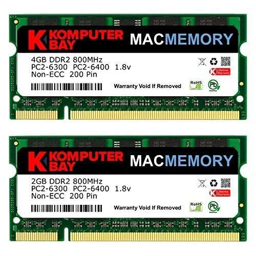 Komputerbay J32 Macmemory Arbeitsspeicher 6GB Kit (4GB und 2GB Module, PC2-6300, 800MHz, 200-polig) DDR2-SODIMM für Apple iMac 50,8 cm (20 Zoll) 2008 - 3.06 Ghz Laptop