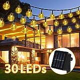 LED Solar Lichterkette, Nasharia 6.5M 30 LEDs 8 Modi IP65 Wasserdicht Warmweiß Lichterkette Kristall Kugeln mit Lichtsensor, Außerlichterkette Deko für Garten, Bäume, Weihnachten, Hochzeiten, Partys.