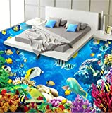 Mznm Fototapete Bodentapete Unterwasserwelt Koralle Meer Wohnzimmer Badezimmer 3D Wandbild Selbstklebend Wasserdichte Bodentapete 120x100cm