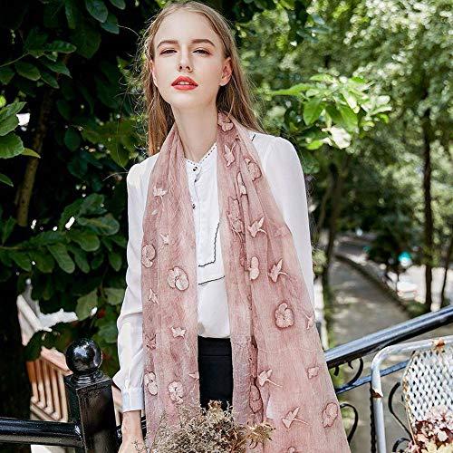 GO&FL Damen Schal aus japanischem und koreanischem Muster, gestreift, für Herbst und Winter, Seide, Bestickt, Nude, 200 * 85cm