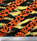 Soimoi Gelb Viskose Chiffon Stoff Zebra & Leopard Tierhaut