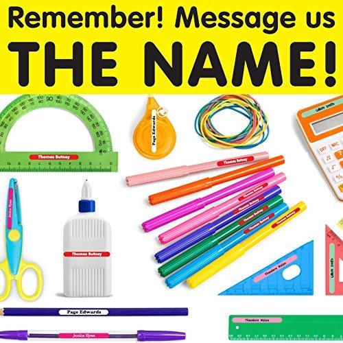 Wall Genie - 100 etichette adesive personalizzate con nome, per cancelleria per la scuola dei bambini, impermeabili - Messaggio Cancelleria
