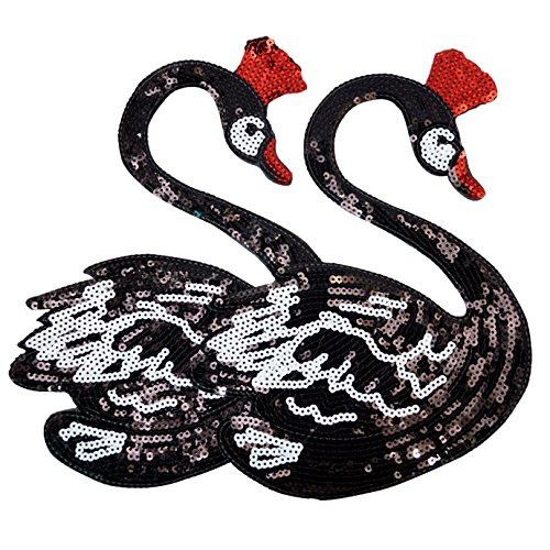 Parches lentejuelas forma cisne negro planchar coser