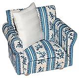 Miniatur Sessel mit Kissen - für Puppenstube Maßstab 1:12 - blau & weiß gemustert - Puppenhaus Puppenhausmöbel Sofasessel Wohnzimmer Klein - für Wohnzimmerlandschaft - Puppensofa - Möbel Wohnlandschaft - Miniatur Diorama
